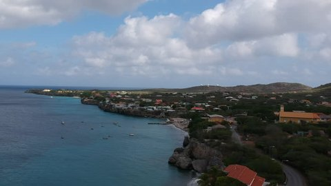 An overview of Playa Piscado/ Playa Grandi on Curacao from a short distance