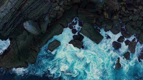 Detail of sea waves colors breaking in the coast of Lekeitio #LK003, Basque country - drone aerial 4k footage graded (ungraded version available)