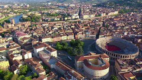 Aerial drone video from iconic Arena and City Hall in Bra square of beautiful city of Verona, Veneto, Italy