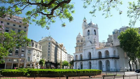 BUENOS AIRES - DECEMBER 24, 2017: Plaza de Mayo in the city of Buenos Aires during sunny day, Argentina