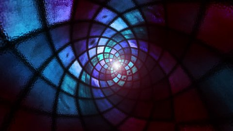 Dark colored abstract fractal stained glass motion background.