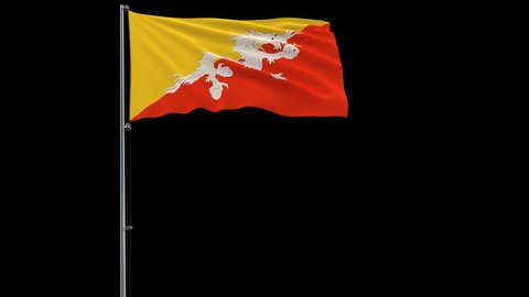 Isolate big flag of Bhutan on a flagpole fluttering in the wind on a transparent background, 3d rendering, 4k prores 4444 footage with alpha transparency