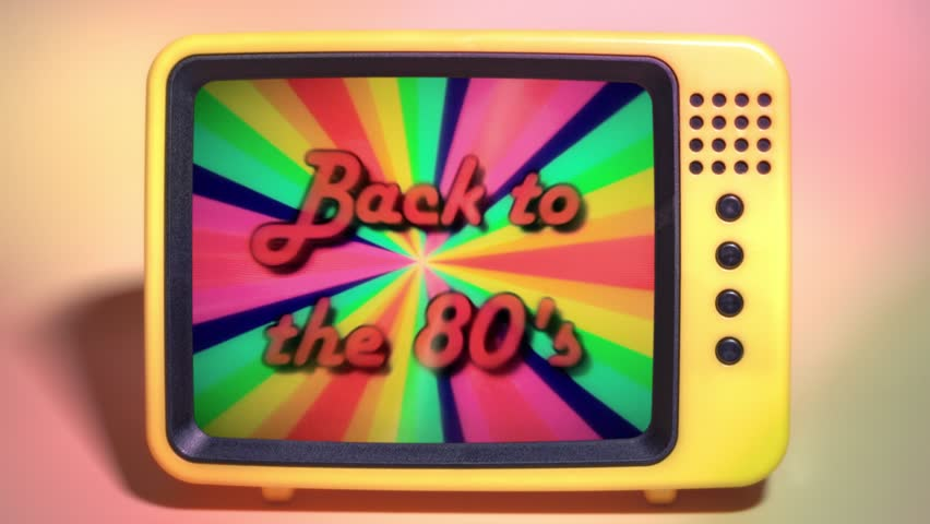A transmission viewed on a fancy TV screen: the text Back to the 80s, appearing on a rainbow pinwheel rays colorful animation. 1980s retro vintage intro.  | Shutterstock HD Video #1028563454
