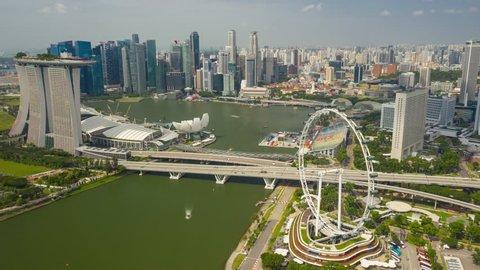 SINGAPORE - FEBRUARY 4 2019: city sunny day flight over marina bay aerial panorama 4k timelapse circa february 4 2019 singapore.