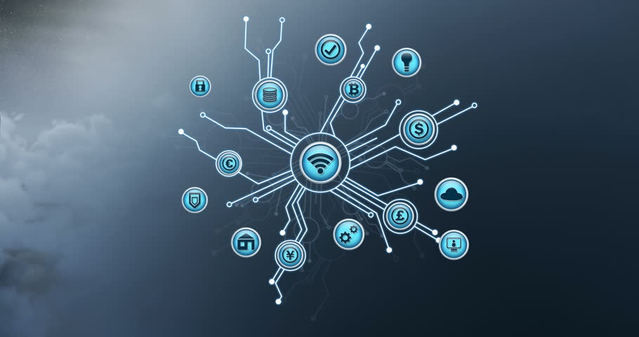 Digital animation of vector icons of wireless internet connectivity at the center, branching out to cryptocurrencies, with cloud programming as background | Shutterstock HD Video #1028637854