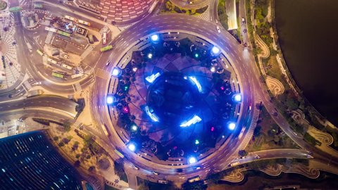 MACAU, CHINA - FEBRUARY 10 2019: night illumination macau downtown traffic street circle aerial topdown panorama 4k timelapse circa february 10 2019 macau, china.