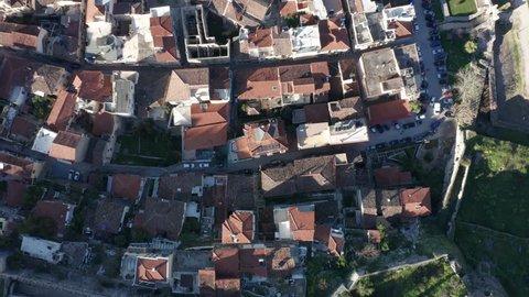 Nafplio city, top down aerial view of beautiful Greece seaside town 4k