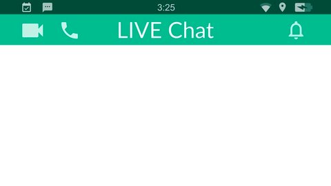 Live chat. Messaging app animation with text bubbles simulating a real chat between users.