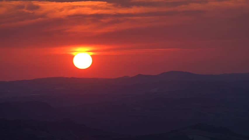 Timelapse sunset in Sicily with mountains background. #1028727524