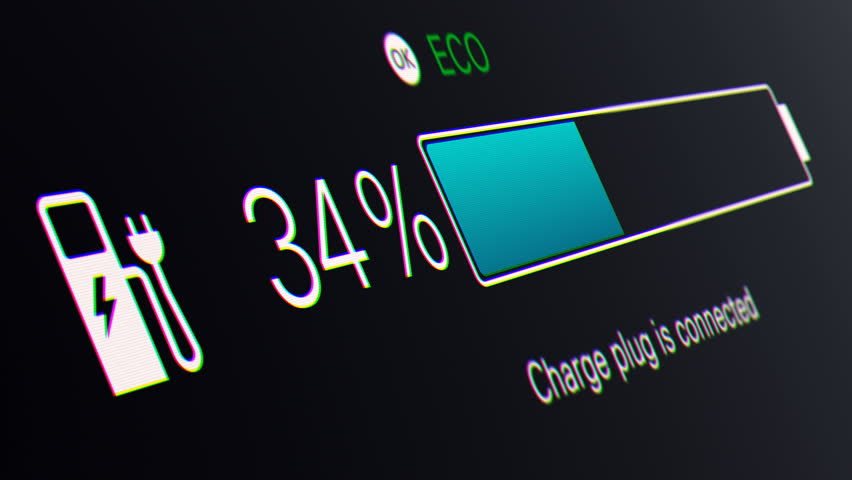 Electric Car Charging Indicating the Progress of the Charging, electric vehicle battery indicator showing an increasing battery charge. The battery indicator shows it fills up to 100%.