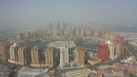 Aerial view of The Pearl Qatar skylines, Doha, Qatar