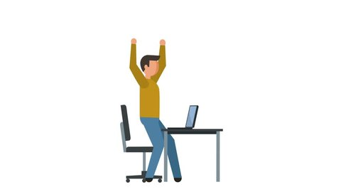 Stick Figure Pictogram Man Character Happy Computer Work Flat Animation
