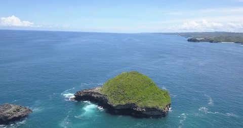 Coral reefs and vast seas in the srau beach area, pacitan east java