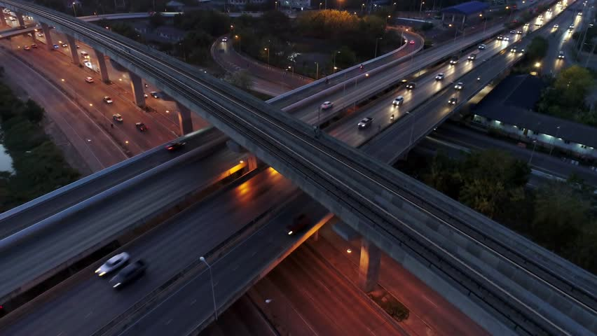 Aerial View, Expressway at night top view, Road traffic an important infrastructure in Thailand. #1028866514