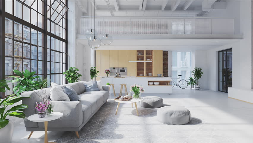 3D-Illustration. loft apartment with living room and kitchen. | Shutterstock HD Video #1028925674