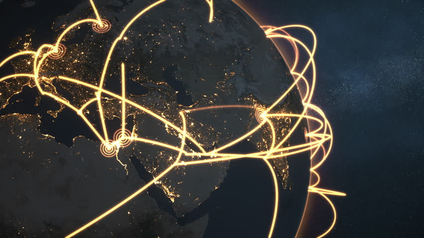 3d animation of a growing network across a realistic earth. Seamless loop. Abstract global business network concept. Orange closeup night version. Elements of this image furnished by NASA | Shutterstock HD Video #1028958644
