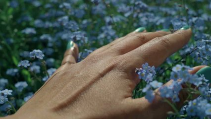 Close-up of woman's hand touching beautiful blue forget-me-not flowers. Feeling the wonderfull world through the skin. Tactile sensations