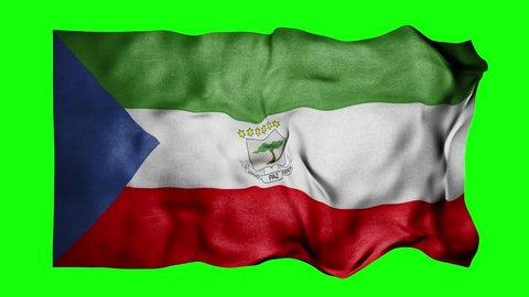 Equatorial Guinea flag 3d render green screen