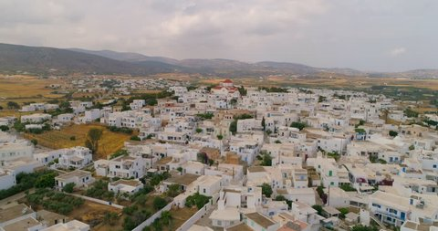 Aerial: Group of Homes in Paros Neighborhood in Paros, Greece