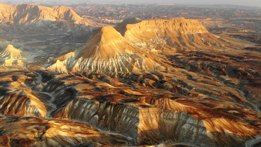 Aerial: Mountains, Ravines and Canyons in a Desert in Negev Desert, Israel