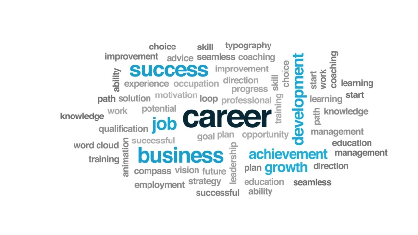 Career animated word cloud. Kinetic typography.   Shutterstock HD Video #1029166304