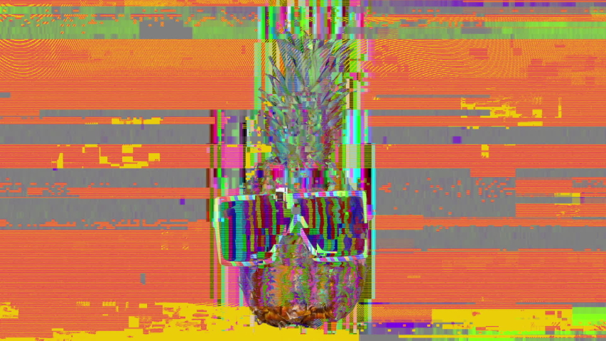 Cool mr pineapple head with shades and overlayed distortion | Shutterstock HD Video #1029170504