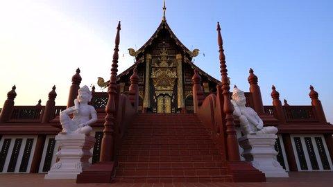Thailand temple Royal Pavilion Ho Kum Luang. Landmark Travel Place Of Chiang Mai, Thailand 4K