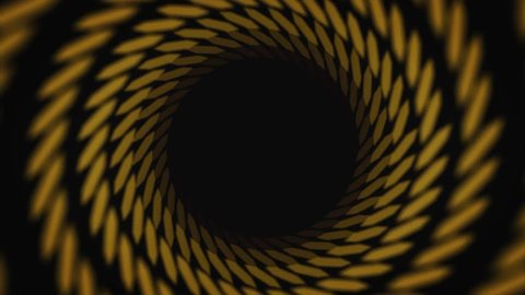 Abstract animation of hypnotizing black and yellow striped tunnel on the black background. Animation. Colorful animation