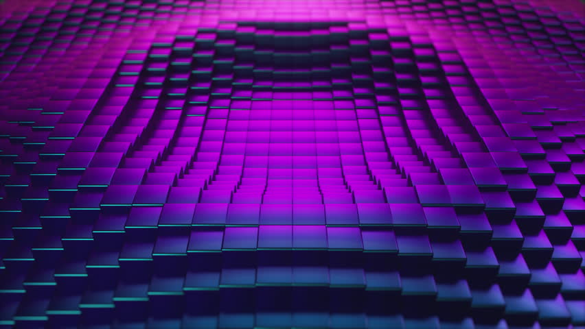 Abstract ultraviolet cubic surface in motion. Seamless loop 3d animation of cubes moving up and down.