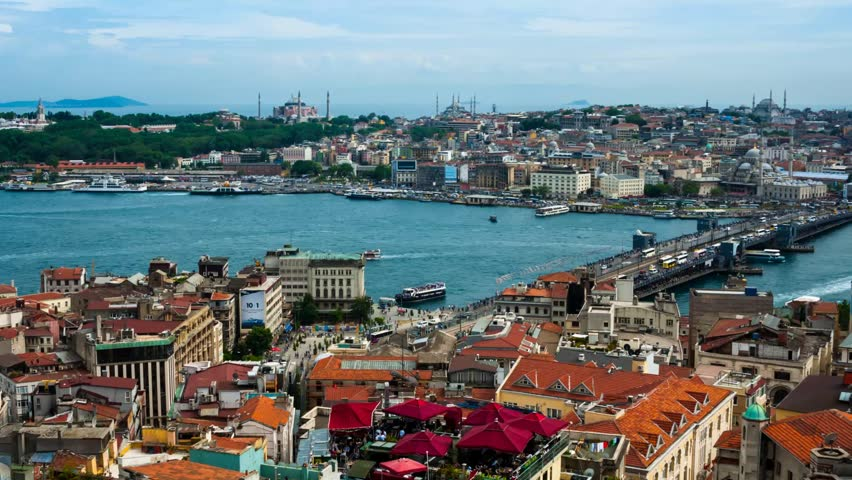 Time-lapse. Aerial view of Istanbul, Turkey harbor with ships going down the river Bosphorus. Historical part of the city during the day
