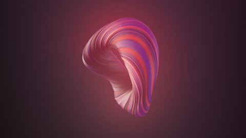 Violet colored twisted shape. Computer generated abstract geometric 3D render loop animation. 4K, Ultra HD resolution.