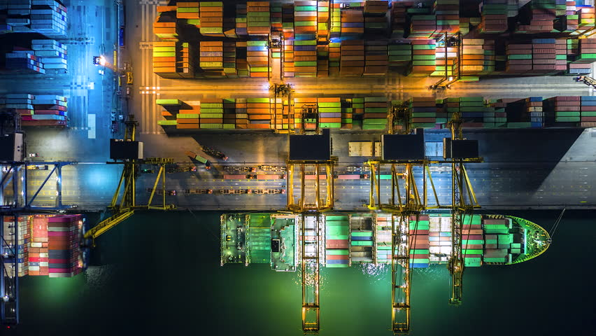 4K Time lapse industrial port with containers from top view or aerial view. It is an import and export cargo port where is a part of shipping dock | Shutterstock HD Video #1029345674