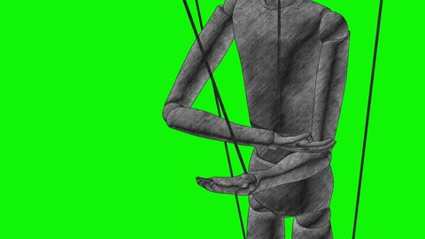 Human on drugs is a puppet in the hands of the demon puppeteer 3d illustration render animation graphite pencil sketch drawing style green screen chromakey