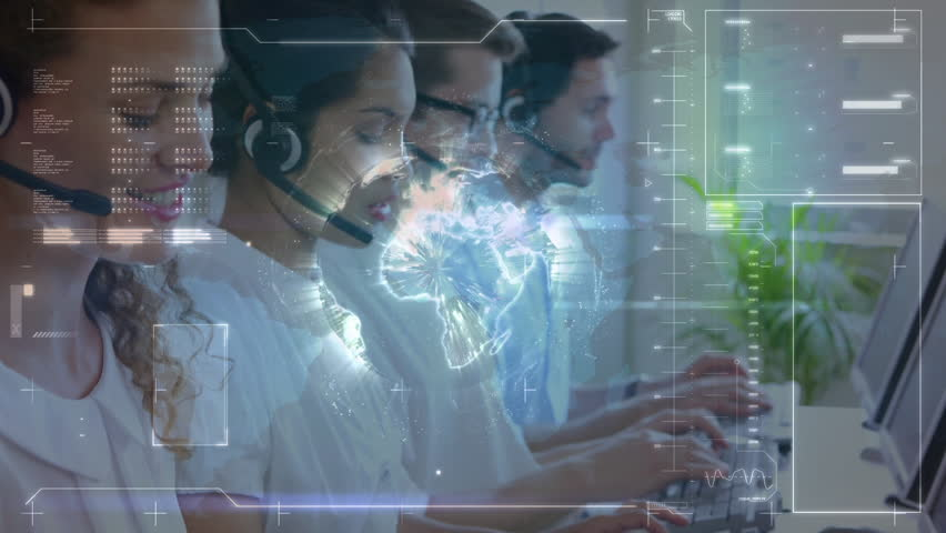 Digital composite of a team of call centre agent multitasking and screens with program codes and labels #1029386444