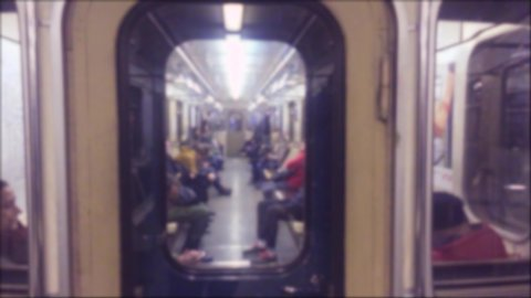 underground metro concept. people in the car in subway the underground metro. crowd lifestyle of people blurred video