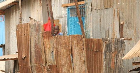 African Children Playing In An Slum 6th May 2019 Nairobi Kenya Africa