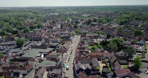 Aerial view over Great Dunmow, a small town in Essex near Chelmsford.