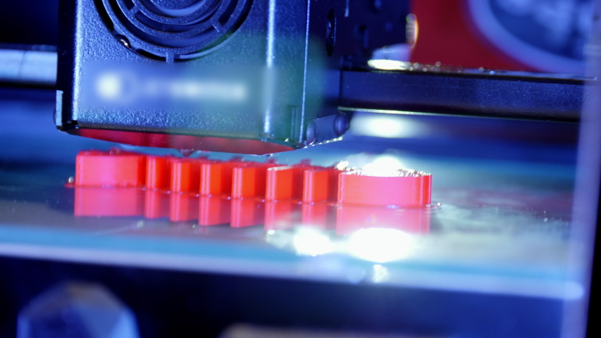 3D printer working close up. Automatic three dimensional 3d printer performs plastic. Modern 3D printer printing an object from the hot molten. Concept progressive additive technology for 3d printing | Shutterstock HD Video #1029557204