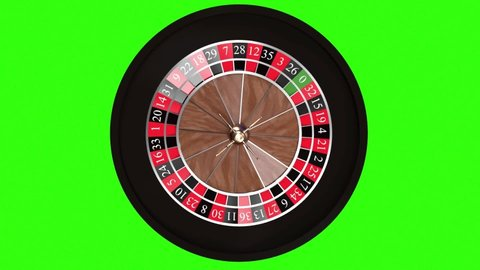 Realistic Casino Roulette Wheel isolated on green background. 3d render, green-screen