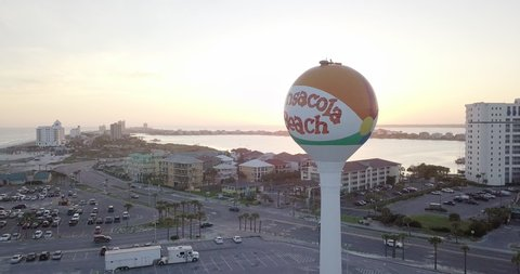 Sunset in Pensacola Beach, Florida. Drone shot of ball billboard.