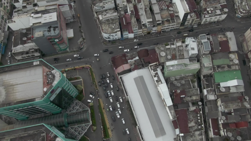 Birdseye footage of buildings in downtown city of Medan in North Sumatra, Indonesia. | Shutterstock HD Video #1029647624