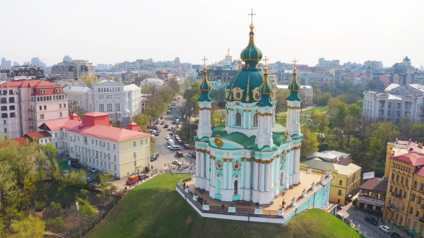 Aerial view of St. Andrews Church in Kiev. The famous Andrew's Descent in the capital of Ukraine. Tourist route in Kiev 4k