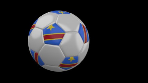 Soccer ball with flag Democratic Republic of Congo flies past camera, slow motion blur, 4k footage with alpha channel