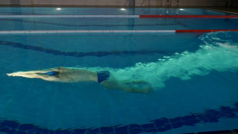 Professional sportsman performing butterfly stroke during training in swimming pool at night, Side view, Full HD steady shot