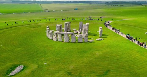 Stonehenge filmed by a drone showing the footsteps of your neolithic ancestors at Stonehenge