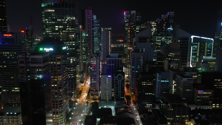 Night time illumination singapore downtown traffic street aerial panorama 4k | Shutterstock HD Video #1029857714