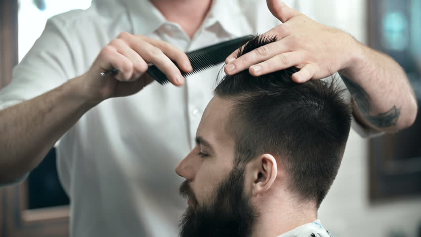 Face Profile Of A Man Having His Hair Done In The Salon