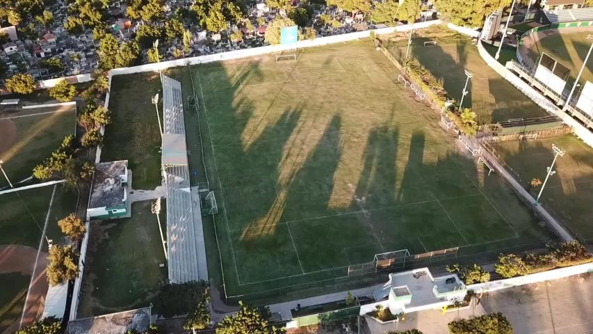 drone flight on soccer field #1029888584