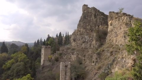 Two old watchtowers in Tbilisi on the hillside