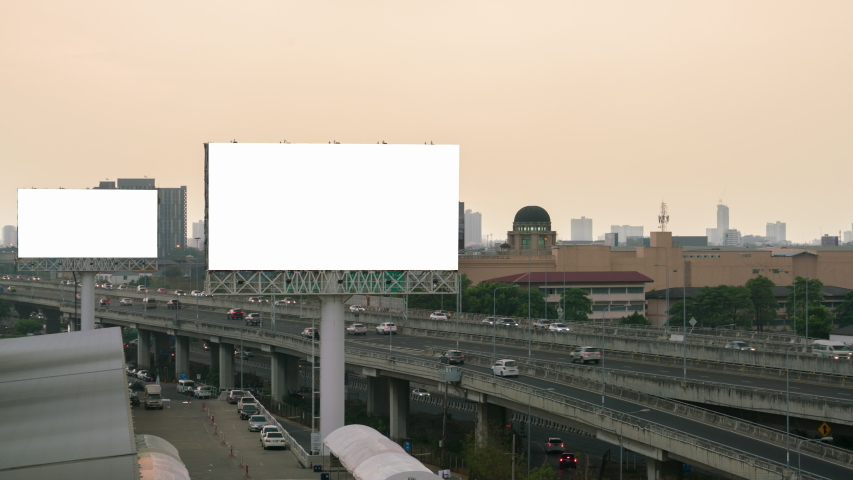 billboard and traffic on expressway of twilight in Bangkok, Thailand. time lapse. #1029922034